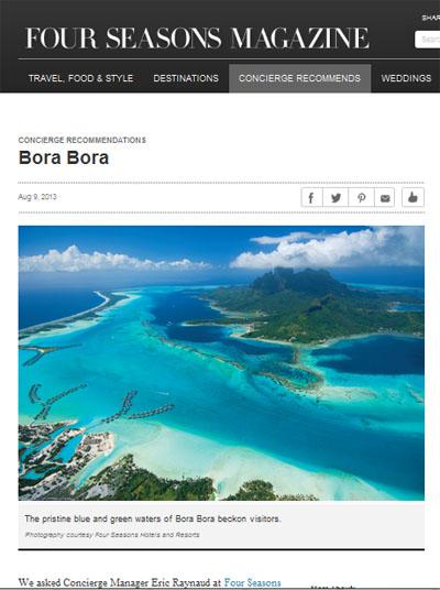 Mag online Four Seasons Bora bora