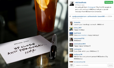 michael kors pionnier instagram direct