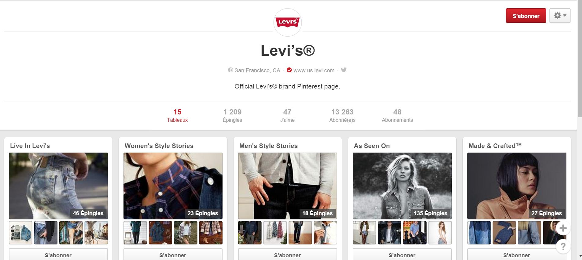 Tableau Pinterest Levi's